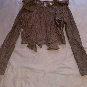 Forever 21 See Through Black Lace Top